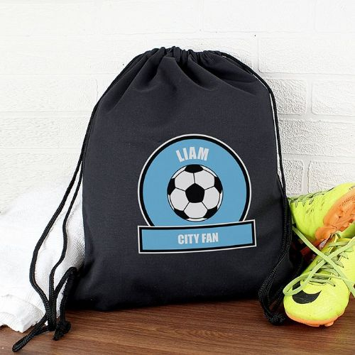 Personalised Sky Blue Football Fan Kit Bag
